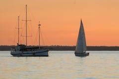Baia dell'yacht di tramonto Fotografia Stock