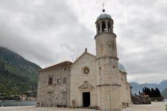 Baia delle isole della chiesa di Cattaro, Montenegro Fotografia Stock
