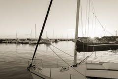 Baia di Arcachon, Francia, porto di Andernos al tramonto Immagini Stock