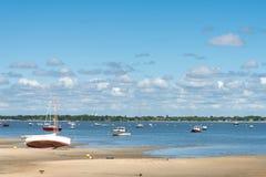 Baia di Arcachon, Francia, una spiaggia a bassa marea Fotografia Stock Libera da Diritti