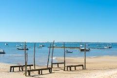 Baia di Arcachon, Francia, una spiaggia a bassa marea Fotografie Stock Libere da Diritti