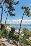 Baia di Arcachon, Francia, vista sopra la baia di estate Immagine Stock Libera da Diritti