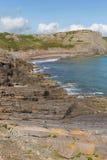 Baia di caduta della costa di Galles la penisola di Gower BRITANNICA vicino alla spiaggia di Rhossili ed alla baia di Mewslade Fotografia Stock