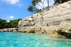Baia di Cala Macarella, isola di Menorca, Spagna Fotografia Stock