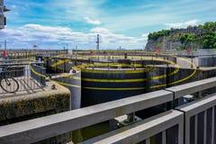 Baia di Cardiff, Cardiff, Galles - 20 maggio 2017: Cerchi di Barage, thre Immagine Stock