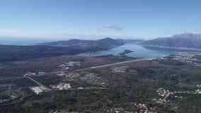 Baia di Cattaro dalle altezze stock footage
