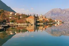 Baia di Cattaro vicino alla città di Prcanj montenegro Immagine Stock Libera da Diritti