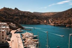 Baia di estate, Mar Nero di Balaklava immagine stock libera da diritti