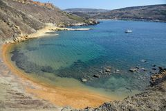 Baia di Ghajn Tuffieha a Malta Fotografie Stock Libere da Diritti