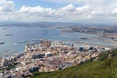 Baia di Gibilterra, veduta dalla roccia di Gibilterra Fotografie Stock Libere da Diritti