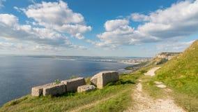 Baia di hallelujah, isola di Portland, costa giurassica, Dorset, Regno Unito immagini stock libere da diritti