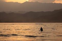 Baia di Hanalei al tramonto Fotografie Stock