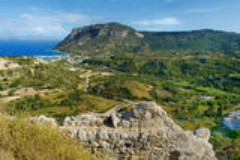 Baia di Kefalos su un'isola greca di Kos Fotografia Stock Libera da Diritti
