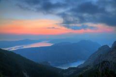 Baia di Kotor al tramonto, Montenegro Immagini Stock Libere da Diritti