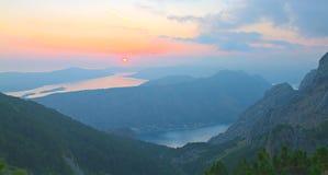 Baia di Kotor al tramonto, Montenegro Fotografia Stock