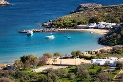 Baia di Lindos, Rodi, Grecia immagini stock libere da diritti