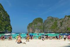 Baia di maya, Ko Phi Phi Lee, Krabi, Tailandia Immagini Stock Libere da Diritti