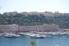 Baia di Monte Carlo, Monaco, porto, porticciolo, fiume, mare fotografia stock libera da diritti
