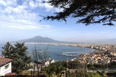 Baia di Napoli e del Vesuvio Fotografia Stock