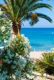 Baia di Paleokastritsa sull'isola di Corfù, arcipelago ionico, Grecia fotografia stock