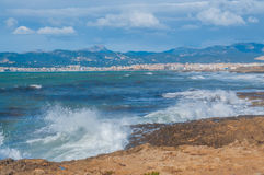 Baia di Palma di vista di oceano a febbraio Fotografia Stock Libera da Diritti