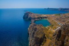 Baia di Pavlos di aggi di Lindos, Rodi Fotografie Stock