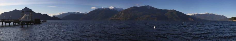 Baia di Porteau, BC panorama Fotografie Stock Libere da Diritti