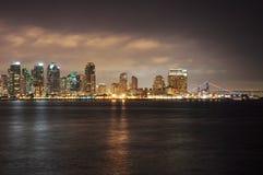 Baia di San Diego alla notte Fotografia Stock