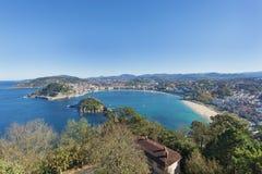 Baia di San Sebastian, Gipuzkoa, paese basco, Spagna Fotografia Stock