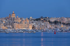 Baia di tripla città a Malta nella sera Immagine Stock Libera da Diritti