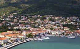 Baia di Vathi dell'isola di Ithaki in Grecia Fotografie Stock