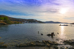 Baia di Vourkari all'isola di Kea Immagini Stock Libere da Diritti