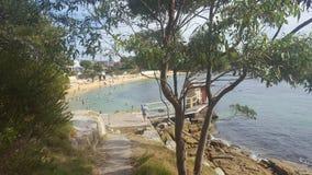 Baia di Watsons una piccola spiaggia su Sydney Harbour, Sydney, NSW, Australia immagini stock libere da diritti