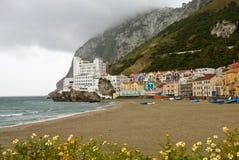 Baia e spiaggia Catalan, Gibilterra fotografie stock libere da diritti