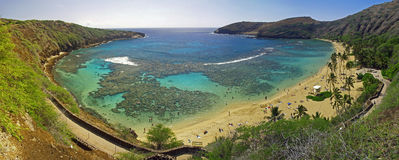 Baia Hawai di Hanauma panoramica Immagini Stock