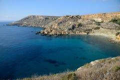 Baia IR-Rih di Fomm, Malta Fotografie Stock Libere da Diritti