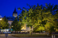 Baia Mare. The central square of Baia Mare, Romania. View by night Stock Photography