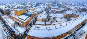 Baia Mare, panorama. Panoramic view from the air over traditional architecture of Baia Mare, city of Transylvania, Romania Stock Image