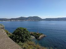 Pozzuoli from the castle of Baia. Baia, Naples, Campania, Italy - June 16, 2018: Panoramic view of the Gulf of Pozzuoli from the terrace of the Aragonese castle Royalty Free Stock Photography