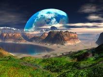 Baia nascosta sul pianeta distante illustrazione di stock