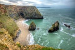 Baia occidentale Portreath Cornovaglia del nord Inghilterra Regno Unito in HDR Fotografie Stock Libere da Diritti