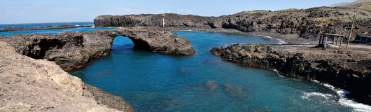 Baia in Salinas. Baia a natural oasis made of a volcanic arch over a clear blue water lagoon serves as one of the natural wonders of the the island of Fogo, part Royalty Free Stock Image