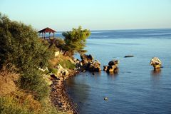 Baia termica, Chalkidiki, Grecia Fotografia Stock Libera da Diritti