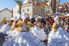 Baianas, one of the most important characters of the Brazilian Carnaval. Sesimbra, Portugal. February 17, 2015: The Baianas, one of the most historically Royalty Free Stock Photo