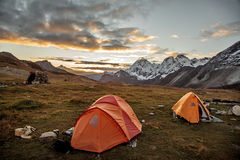 Baidang Camp under Mt MaKaLu in Tibet Stock Photo