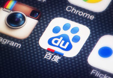 Baidu. HILVERSUM, NETHERLANDS - FEBRUARY 03, 2014: Baidu, Inc. offers many services, including a Chinese language-search engine for websites, audio files, and stock photos