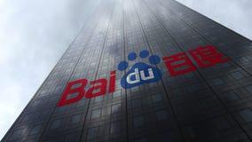 Baidu logo på reflekterande moln för en skyskrapafasad Redaktörs- tolkning 3D Royaltyfri Bild