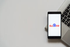 Baidu logo on smartphone screen Stock Images