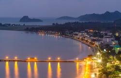 Baie crépusculaire de Prachuap Photos libres de droits