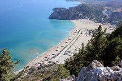 Baie d'Agia Tsimbika, île de Rhodes images stock